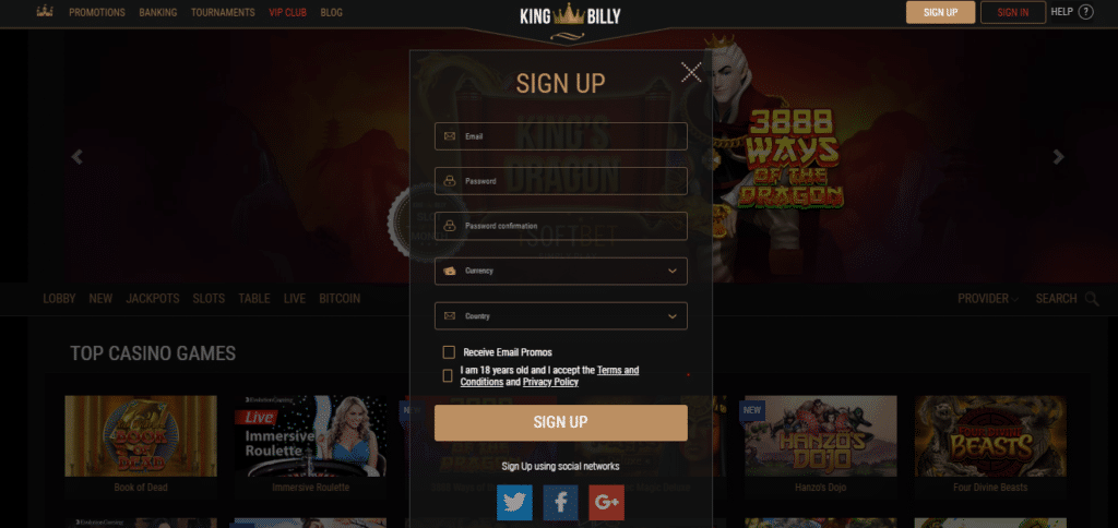 King Billy Casino - Sign Up Procedure
